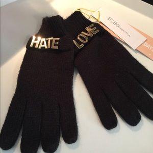 BCBGeneration LOVE HATE GLOVES. BLACK/GOLD NWT